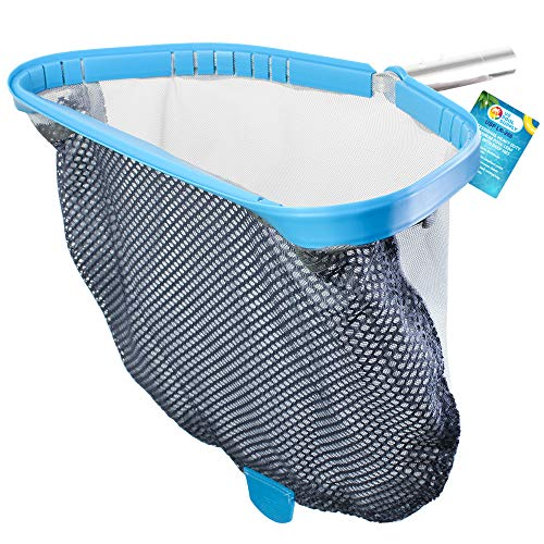 US Pool Supply Professional Heavy Duty 18quot Swimming Pool Leaf Skimmer Rake with Deep DoubleStitched Net Bag  Strong Aluminum Frame for Faster Cleaning amp Easier Debris Pickup and Removal