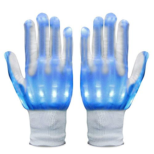 Neusky LED Leucht Handschuhe, Blink Party Leuchthandschuhe für Halloween, Karneval Weinachten oder Mottoparties (Blau)