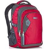 Camden Gear Damen und Herren Rucksack, Ideal für Schule, Laptop, Wandern, Wasserabweisend, mit mehreren Fächern, Rot/Grau