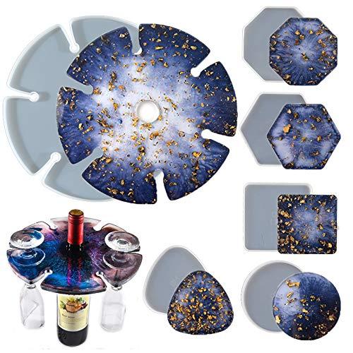 MAEKIJOY Juego de 6 posavasos de resina epoxi, moldes grandes de silicona para hacer uno mismo, accesorios de resina, decoración para copas de vino