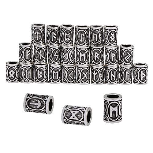 24 Pcs Norse Vikings Runes Hair Beard Beads Braiding Beads Hair Braids Beard Ring Beads DIY Bracelet Jewelry Pendants Necklace (Silver, 24 Pcs)