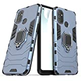 Palbyes for OnePlus Nord N100 Case, Double-Layer Military Anti-Slip 360 ° Metal Ring Fixed Bracket Magnetic Suction Mobile Phone Case for Oneplus Nord N100 (Blue)