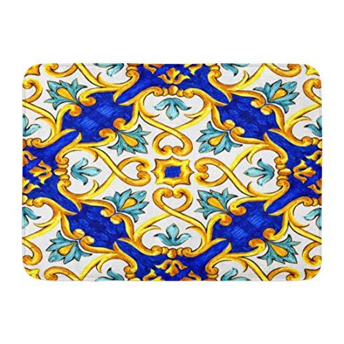 Bodenmatte Aquarell Muster auf italienischen Fliesen Majolika Cyan Umriss blau ethnischen orientalischen Fußmatte Dekor Teppich Fußmatten Bad Teppiche Outdoor / Indoor Badezimmer Badematte 40X60cm