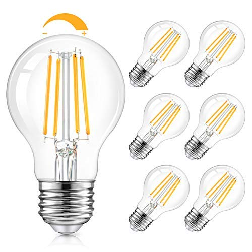 LED A19 Dimmable Light Bulbs 100W Equivalent, Vintage E26 Edison Bulbs 8W 1200LM, 2700K Soft Warm White, Clear Antique LED Filament Bulb for Home, Bathroom, Indoor&Outdoor, 6-Pack