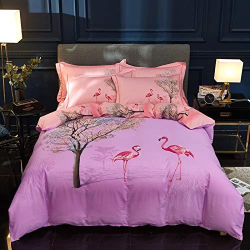 yaonuli Baumwollbettwäschesatz mit großem Druck von Vier Sätzen Bettbezugrolle Flügel lila 200 * 230 cm