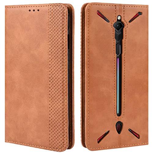 HualuBro Handyhülle für Nubia Red Magic 3 Hülle, Retro Leder Brieftasche Tasche Schutzhülle Handytasche LederHülle Flip Hülle Cover für ZTE Nubia Red Magic 3 - Braun