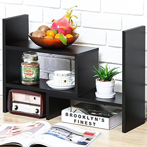 FITUEYES Regal Schreibtisch Organizer DIY Schwarz Holz Bücherregal für Büro und Zuhause 68x17x39cm DT306801WB