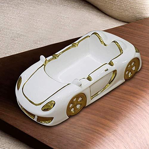 Gafas cigarro Modelo del coche Cenicero de cerámica de mesa Enfriar cigarrillos Cenicero for uso en interiores al aire libre, chapado en oro de la astilla del borde de porcelana de escritorio fumadore