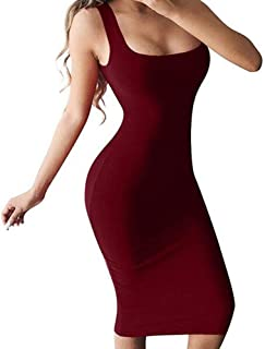 Womens Sexy Sleeveless Bodycon Scoop Neck Pencil Knee Length Midi Club Dresses Casual Tank Dress