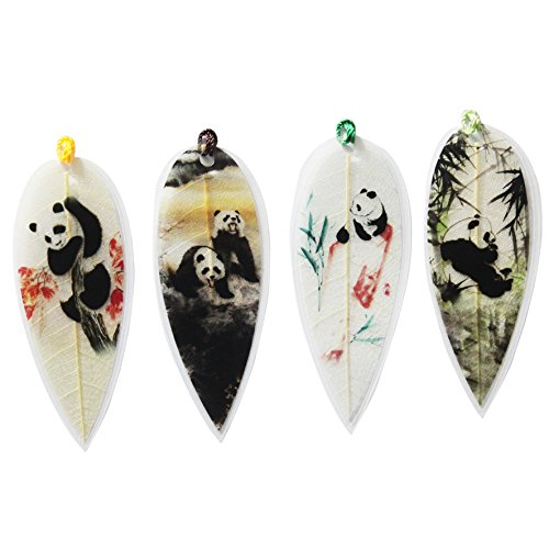 Ancient-Gift 4PCs Leaf Vein Bookmark with The Panda Unique Gift Business Gift