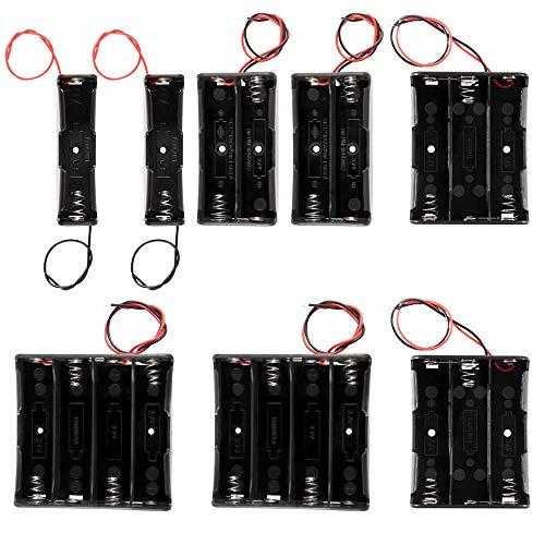 GTIWUNG 8 Stück 1/2/3/4 x 3.7V 18650 Batteriehalter Gehäuse Kunststoff Akku Aufbewahrungsbox mit Wire Leads(1/2/3/4 Slots) für Einfaches Löten und Anschließen
