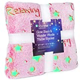 Glow in The Dark Throw Blanket, Super Soft Fuzzy Plush Fleece,Decorated with Stars and Words of Encouragement, Valentines Day Birthday Gift for Girls Kids Women Teens Toddlers,Pink,50'x 60'