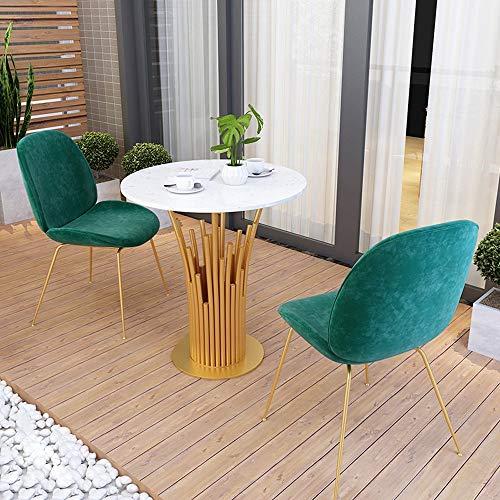 MEI XU Conjunto de Mesa y Silla, Mesa de mármol balcón Patio de Ocio Mesa Redonda Mesa de negociación Comercial y Silla combinación, (Color : B, Size : 1 Table and 2 Chairs)
