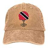 Dyfcnaiehrgrf Gorra de béisbol para hombre y mujer, diseño del árbol de la vida con bandera de Trinidad y algodón ajustable para mujer