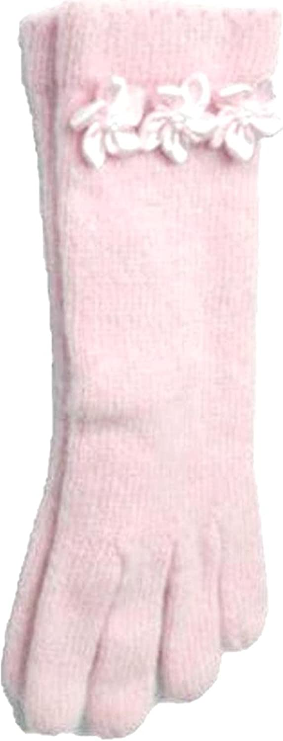 Pink Color Angora Gloves Trimmed with Three Pink Pearl Satin Flowers