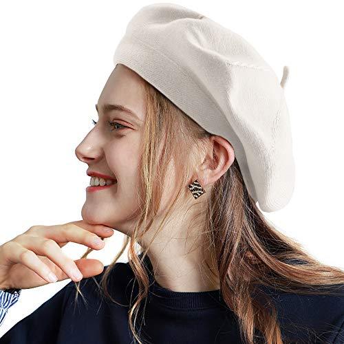 LADYBRO Women Beatnik Beret Knit Hat - Creamy-White Beret Ladies Wool French Beret