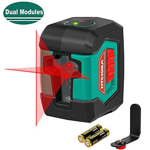 Kruislijnlaser 15M, HYCHIKA Zelfnivellerende lijnlaser met dubbele lasermodule 360 ° schakelbaar Horizontaal / verticaal met houder, beschermtas en 2 x AA-batterijen
