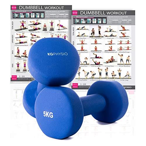 KG Physio Pesi Palestra in Casa Fitness e Palestra Manubri e Pesi Fitness Pesi per Palestra Manubrio (Set di 2) 1-10kg Poster di Allenamento Incluso (5kg)