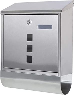 Decaller Stainless Steel Mailboxes with Sturdy Key Lock, Wall Mounted Waterproof Mail Box with Transparent Cover, 5 x 15 4/5