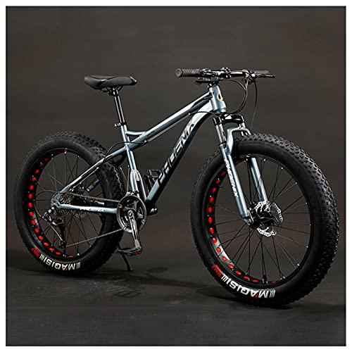 Bicicleta de Montaña Adulto de 26 Pulgadas, Hardtail Bicicleta BTT Enduro para Hombres Mujeres, Acero de Alto Carbono Niña Niño MTB, Freno Disco,Gray Spoke,27 Speed
