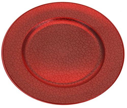 Koop Lot de 4 assiettes de présentation rondes ou carrées de 33 cm Rouge doré cuivre argent