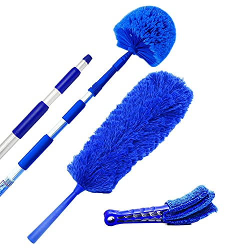 Extension Rod & Blue Extension Cobweb Duster Ultimate Dusting Kit - Extendable Reach 20 feet, Ceiling Fan Duster, Long Handle Aluminum Telescoping Pole, Webster Duster for Cleaning