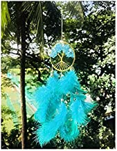 Rooh Healing Tree Brass Dream Catcher Turquoise Blue- Used as Home Décor Accents, Wall Hangings, Car, Bedroom, (L- 5.3 cm x H -20 cm)