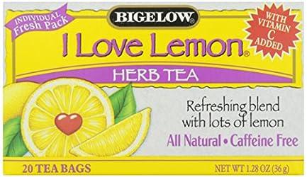 Bigelow I Love Lemon Herbal Tea, 20 ct