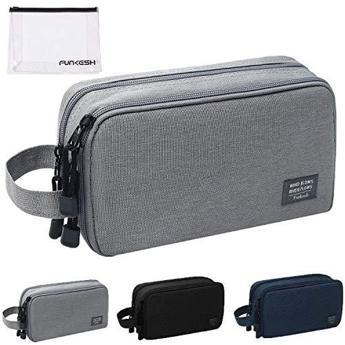 Mens Toiletry Bag Waterproof Organizer Bag Travel Shaving Dopp Kit Perfect Travel Accessory Gift (Gray)