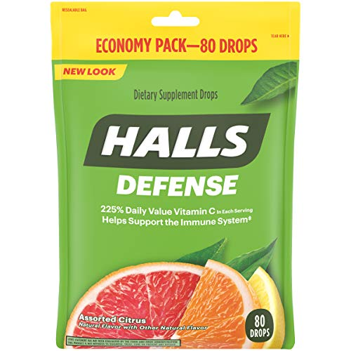 Halls Defense Citrus Vitamin C Drops - 80 Drops (1 bag of 80 drops)