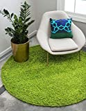 Unique Loom Solo Solid Shag Collection Modern Plush Grass Green Round Rug (8' 2 x 8' 2)