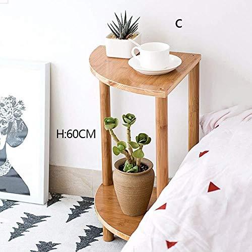 Soporte de madera para flores de 2 niveles para plantas suculentas, soporte de múltiples capas, macetas, almacenamiento para macetas de interior y exterior, ideal para el hogar, jardín, patio, Color primario, 60cm high