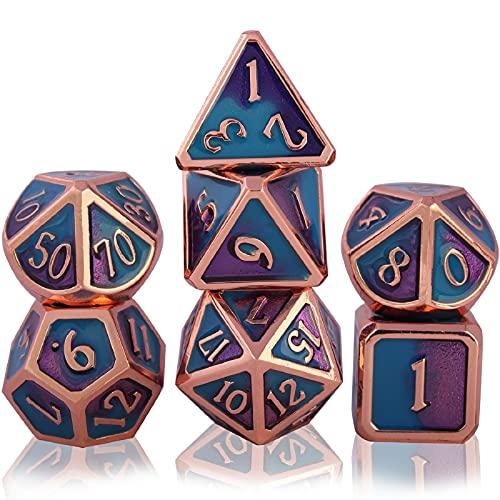 Schleuder 7 Set di Dadi di Metallo Poliedrici, D&D Dice Set DND Gioco di Ruolo per Rpg Dungeons & Dragons Pathfinder Insegnamento della Matematica,Giochi da Tavolo e Ruolo (Copper - Blue And Purple)