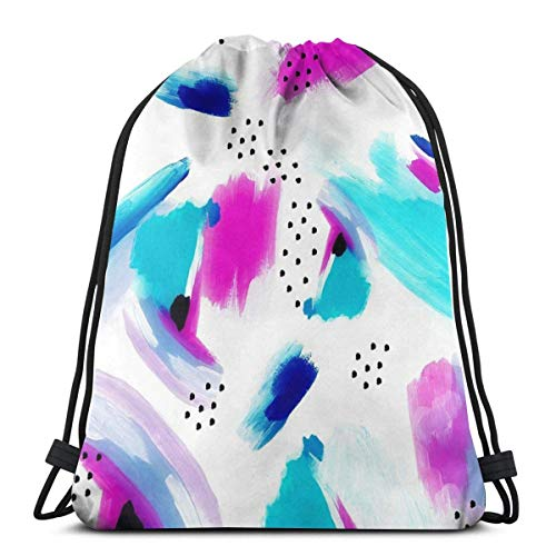 OPLKJ Purple Splash Mochila con cordón Mochila Ligero Gimnasio Viaje Yoga Casual Snackpack Bolso de hombro para senderismo Natación playa