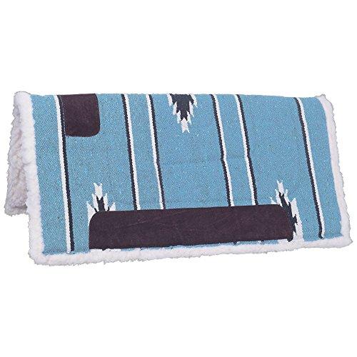Tough 1 Square Saddle Pad/Fleece Bottom, Teal/Black/Cream