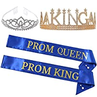 King's and Queen's ロイヤルクラウン - プロム キングとプロム クイーン サテン サッシュ キング クイーン コスチューム アクセサリー バリュー(ブルー)