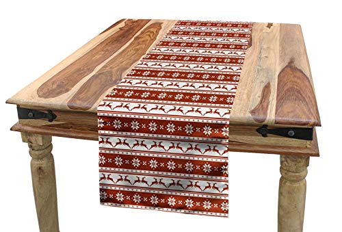 "Ambesonne Christmas Table Runner, Norwegian Scandinavian Traditional Vintage Style Borders Reindeer Striped Flower, Dining Room Kitchen Rectangular Runner, 16"" X 90"", White Red"
