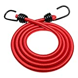 Bungee Cord with Hooks (3/8 in 4-Pack) - SGT KNOTS - Marine Grade Bungee Cords with 2 Hooks - Heavy Duty Bungie - Bunji Cord Straps - Bungees for Bikes, Tie Downs, Camping, Cars (72 in - Red)