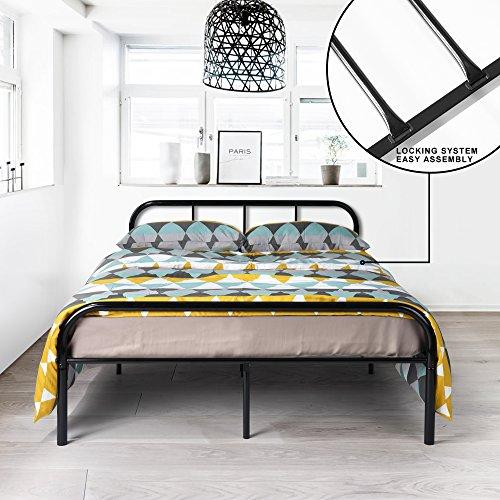 Coavas Cadre de lit Double en métal 142x198 cm Unisexe avec 10 Pieds en métal et Cadre de lit...
