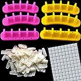 6 Pcs Plastic Nail Art Tips Practice Display Stand and 60 Pieces Acrylic Practice False Nail 126 Reusable Putty Clay DIY Nail Art Combination
