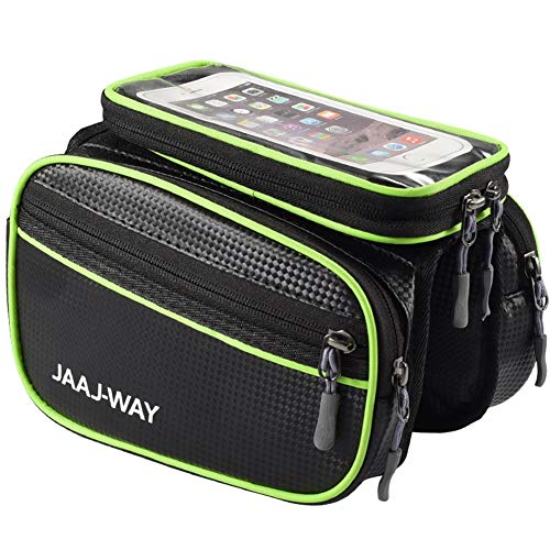 RBB-Bike Bag Bike Front Frame Bag Waterdichte Top Tube Fietstas Gevoelige Touch Screen Bike Telefoon Tas Met Afneembare klittenband Ontwerp Onafhankelijke Opbergruimte Voor Cellphone Onder 6.0 Inch