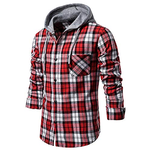 Mr.BaoLong&Miss.GO Ou Code Herren Casual Plaid Shirt Dekoratives Kapuzenhemd Herren Langarmhemd