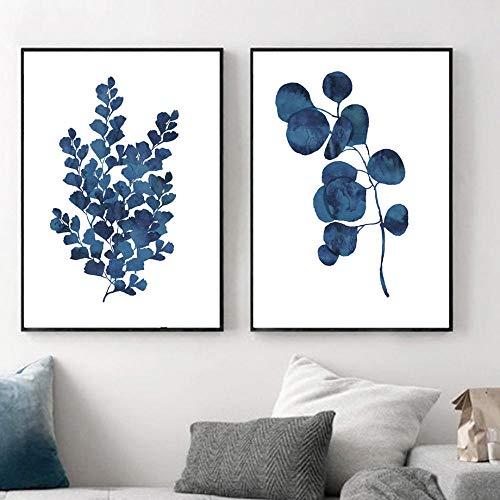 Arte De Pared De Hoja Fresca Azul Pintura En Lienzo Posters De Plantas Nórdicas E Impresiones Cuadros Salon Decoración Interior De Moda A2 42x60cmx2 Sin Marco