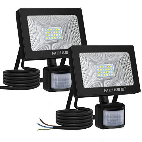 MEIKEE 20W LED Strahler mit Bewegungsmelder 2000LM Superhell LED Fluter mit Sensor IP66 Wasserdicht Außenstrahler Flutlichtstrahler Scheinwerfer für Garten Garage Sportplatz, 2 Stk.
