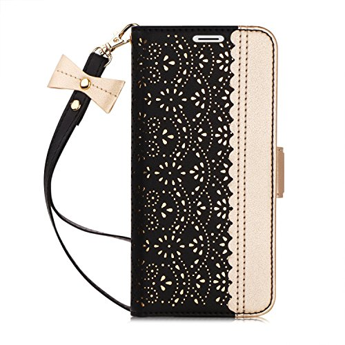 WWW Galaxy Note 9 Case,Note 9 Wallet Case, [Luxurious Romantic Carved Flower] Leather Wallet Case with [Inside Makeup Mirror] and [Kickstand Feature] for Galaxy Note 9 2018 Black