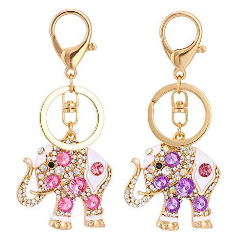 2 pezzi Elefante Portachiavi, Portachiavi con ciondolo a forma di elefante portafortuna e strass opali, da Donna Portachiavi