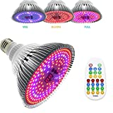 MSMING 100W Led Grow Light Bulb, with 3 Modes Timer Setting Auto On/Off , Full Spectrum Pl...