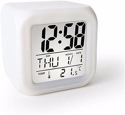 FLYRCX Cama Creativo Luminoso de Alarma Snooze Reloj electrónico - Blanco