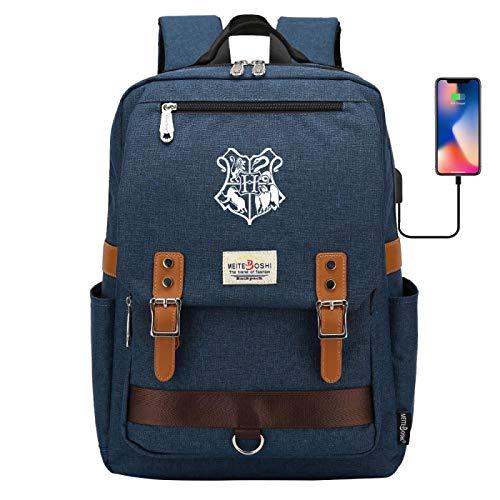 Hogwarts Badge School Bag Junior High School Student Backpack Multifunctional Meal Bag Large Army Blue