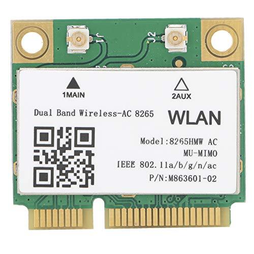 Tarjeta de Red inalámbrica, Mini PCI-E WI-FI 802.11ac Bluetooth 4.2 8265HMW Tarjeta de Red de Banda Dual, Soporte para portátiles con Interfaz Mini PCI-E, Excelente Rendimiento.